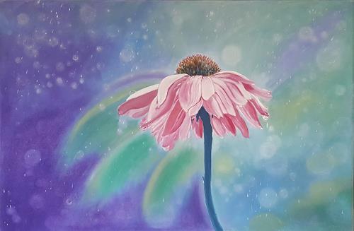 Alla Alevtina Volkova, Pink Flower Spring Mood, Landschaft: Sommer, Natur: Wasser, Land-Art