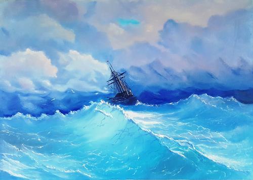 Alla Alevtina Volkova, Storm Painting -  Copy Of I K Aivazovsky Storm, Natur: Wasser, Verkehr: Schiff, Abstrakte Kunst