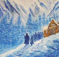 Alla-Alevtina-Volkova-Landschaft-Berge-Menschen-Gruppe-Moderne-Pop-Art