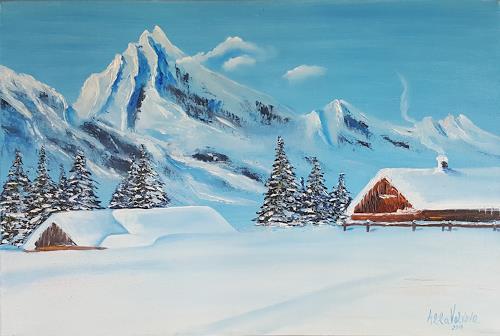Alla Alevtina Volkova, House in the Mountains, Landschaft: Berge, Landschaft: Winter, Abstrakte Kunst
