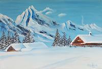 Alla-Alevtina-Volkova-Landschaft-Berge-Landschaft-Winter-Moderne-Abstrakte-Kunst