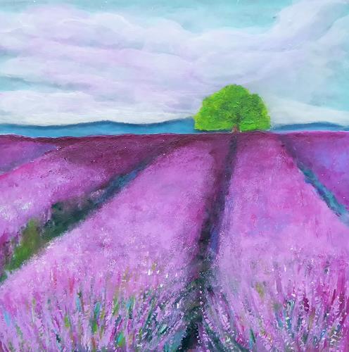 Claudia Irene Carmen Simon, Lavendelfeld, Landschaft: Sommer, Pflanzen: Blumen, Moderne