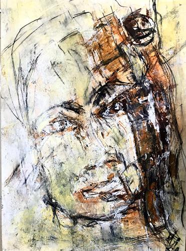 Rita Simon-Reinecke, Kopf orange, Abstraktes, Abstrakter Expressionismus