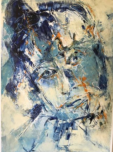 Rita Simon-Reinecke, Kopf Serie Blau/Orange, Menschen: Frau, Abstrakte Kunst