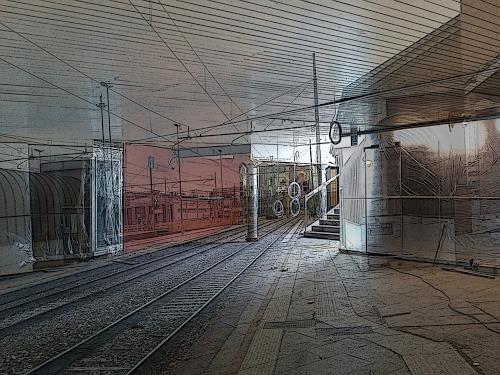 Eva-Caroline Dornach, Gleis 16, Verkehr: Bahn, Dekoratives, Gegenwartskunst, Abstrakter Expressionismus