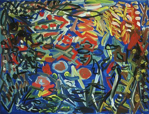 Yuriy Samsonov, Eine trostlose Menge., Abstraktes, Landschaft, Abstrakter Expressionismus