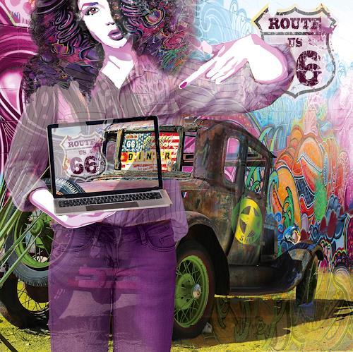 Leo Will, US Road 66, Menschen: Frau, Gegenwartskunst, Abstrakter Expressionismus