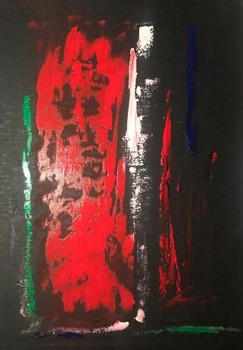 A Lee Brown, Red Wood, Abstraktes, Action Painting