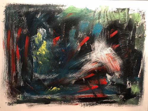 A Lee Brown, Nachtwache, Abstraktes, Abstrakte Kunst, Abstrakter Expressionismus