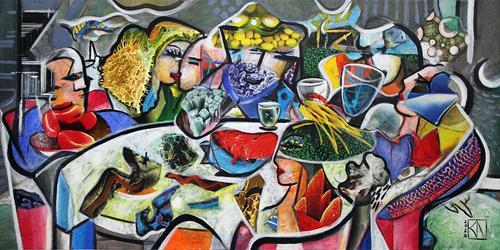 Andreas Garbe, Genussabend, Menschen, Gesellschaft, Kubismus