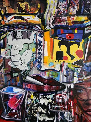Andreas Garbe, The Thinker III, Menschen, Fantasie, Neo-Expressionismus