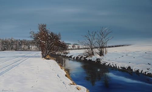 Urs Brandenburg, Aabach Ausgangs Seon im Winter, Landschaft, Gegenwartskunst, Expressionismus