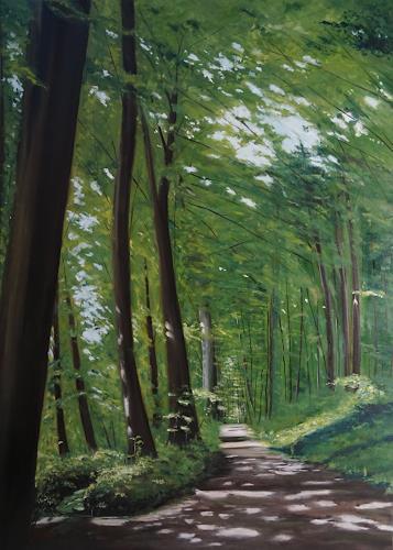 Urs Brandenburg, Waldweg ob Eichberg im Sommer, Landschaft, Gegenwartskunst, Expressionismus