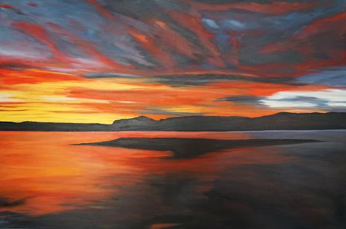 Urs Brandenburg, Sonnenuntergang mit Insel, Landschaft: See/Meer, Gegenwartskunst, Expressionismus