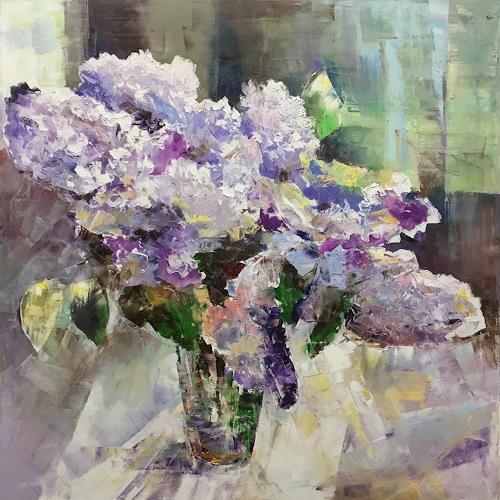 Olga Scheck, Flieder Duft, Pflanzen: Blumen, Stilleben, Gegenwartskunst, Expressionismus