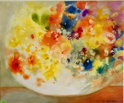 anne samson, yellow flowers, Pflanzen: Blumen, Pflanzen, Impressionismus, Expressionismus