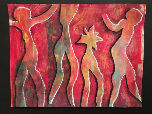 Ruth Loewenkamp, Tanz mit dem Virus, Menschen, Diverse Gefühle, Abstrakte Kunst