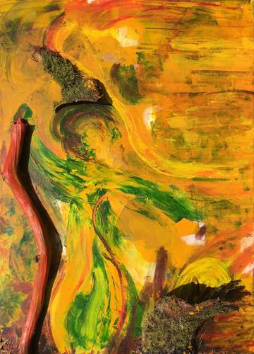 Ruth Loewenkamp, Herbstfrau, Landschaft: Herbst, Menschen: Frau, Abstrakte Kunst