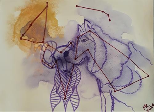 Marie Ruda, Monotypie-6;Tierkreiszeichen., Tiere, Tiere, Moderne
