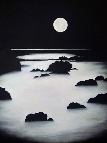 Marie Ruda, Die Betrachtung., Landschaft: See/Meer, Weltraum: Mond, Klassizismus, Expressionismus