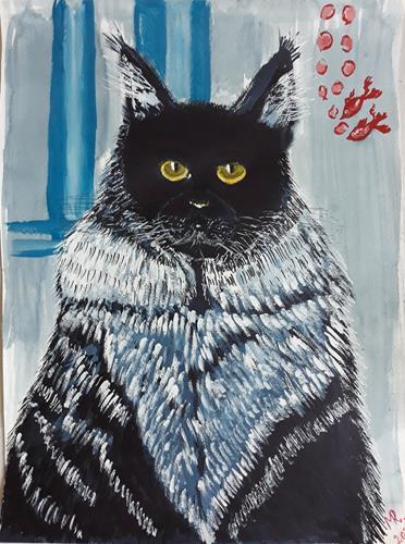 Marie Ruda, Blaue Katze Maine Coon., Diverse Tiere, Tiere, Realismus