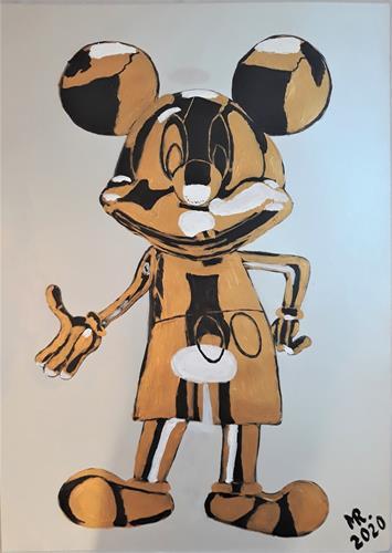 Marie Ruda, Mickey Mouse-Metall-Skulptur., Tiere: Land, Geschichte, Art Déco, Abstrakter Expressionismus