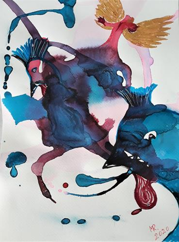 Marie Ruda, Engelgebet., Religion, Diverse Tiere, Moderne, Abstrakter Expressionismus