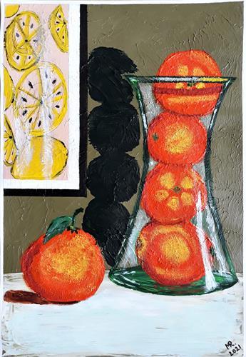 Marie Ruda, Stillleben-017., Stilleben, Pflanzen: Früchte, Realismus