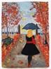 Marie Ruda, Im Herbstregen., Menschen: Frau, Zeiten: Herbst, Moderne
