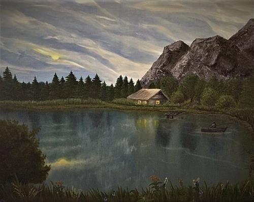 Gennady, Fischerhütte, Landschaft, Landschaft: Hügel, Realismus, Expressionismus