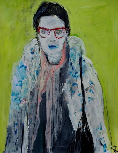Barbara Kroll, Junge Frau mit roten Brillen, Menschen: Frau, Menschen: Porträt, expressiver Realismus
