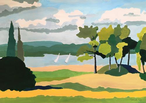 Joachim Tatje, Bodensee bei Iznang, Landschaft: See/Meer, Dekoratives, expressiver Realismus, Expressionismus