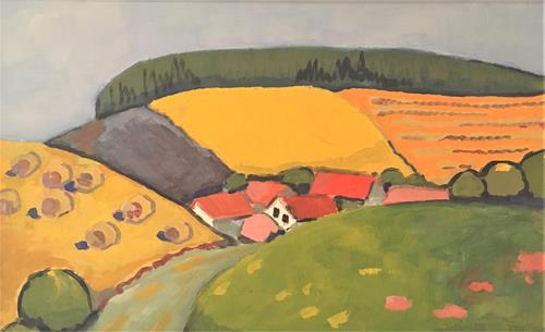 Joachim Tatje, Erntezeit, Landschaft: Hügel, Dekoratives, Neo-Expressionismus, Expressionismus