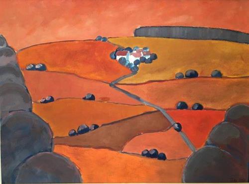 Joachim Tatje, Landschaft in Rot, Landschaft: Hügel, Dekoratives, expressiver Realismus, Expressionismus