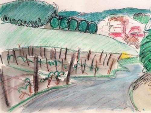 Joachim Tatje, Blick auf Obergrombach, Landschaft: Hügel, Dekoratives, expressiver Realismus