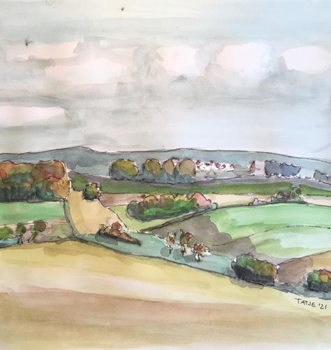 Joachim Tatje, Blick auf Gondelsheim, Landschaft: Hügel, Dekoratives, expressiver Realismus