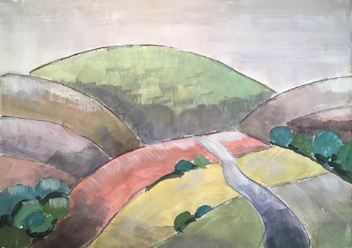Joachim Tatje, Hügellandschaft, Landschaft: Berge, Dekoratives, expressiver Realismus