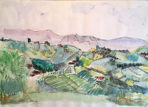 Joachim Tatje, La Morra, Landschaft: Berge, Dekoratives, expressiver Realismus