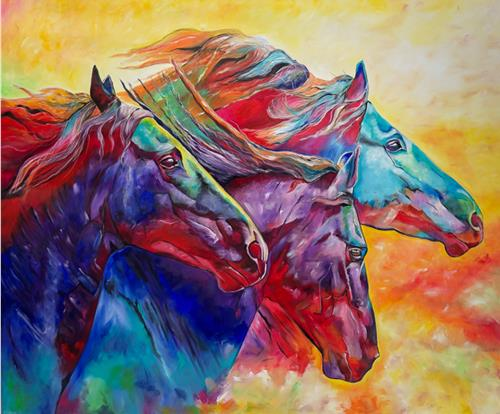 Sabrina Seck, power of horses, Tiere: Land, Abstraktes, Abstrakter Expressionismus, Expressionismus