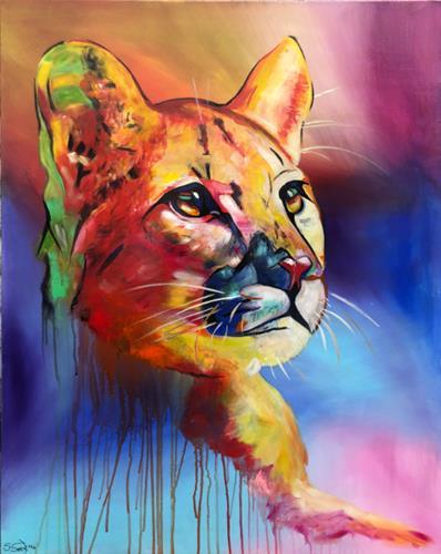 Sabrina Seck, cougar, Abstraktes, Tiere: Land, Abstrakter Expressionismus, Expressionismus