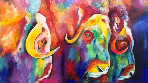 Sabrina Seck, die Drei, Abstraktes, Tiere: Land, Gegenwartskunst, Abstrakter Expressionismus