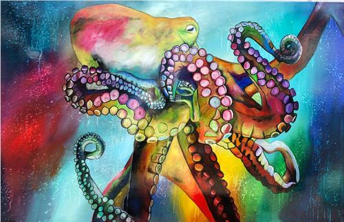 Sabrina Seck, Oktopussi, Abstraktes, Tiere: Wasser, Gegenwartskunst