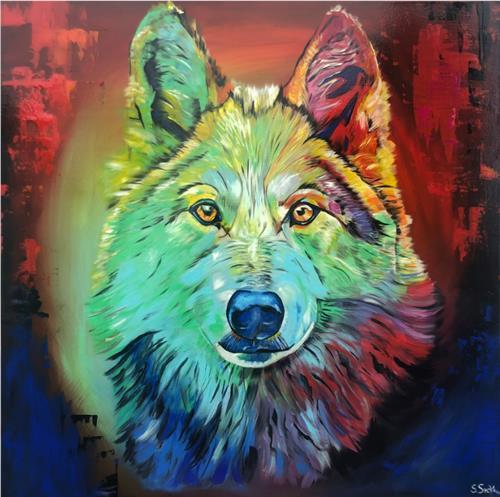Sabrina Seck, colorful lupus, Abstraktes, Tiere: Land, Abstrakter Expressionismus