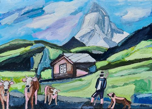 Peter Seiler, Kühe beim Matterhorn, Landschaft, Menschen, Konkrete Kunst