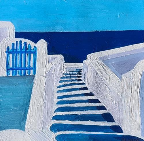 Peter Seiler, Santorini steps, Landschaft: See/Meer, Gegenwartskunst