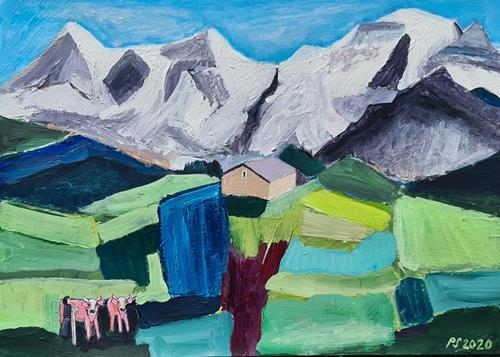 Peter Seiler, Eiger, Mönch und Jungfrau Kulisse - 2020, Landschaft: Berge, Tiere: Land, Gegenwartskunst