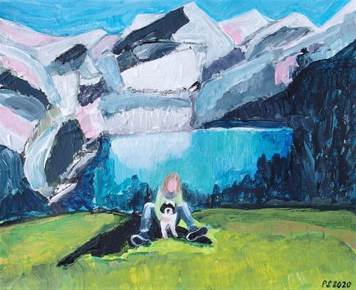 Peter Seiler, Fynn und Kay am Oeschinensee, Menschen: Frau, Landschaft: Berge, Konkrete Kunst