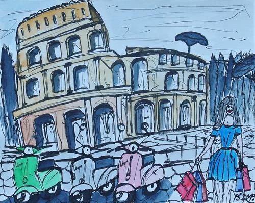 Peter Seiler, Urban sketch Rome, Diverse Landschaften, Wohnen: Stadt, Gegenwartskunst