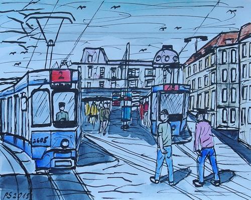 Peter Seiler, Urban sketch Bellevue Zürich, Diverse Landschaften, Gegenwartskunst