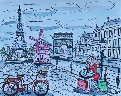 Peter Seiler, Urban sketch Paris, Diverse Landschaften, Gegenwartskunst